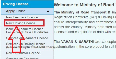 New Driving Licence Apply online