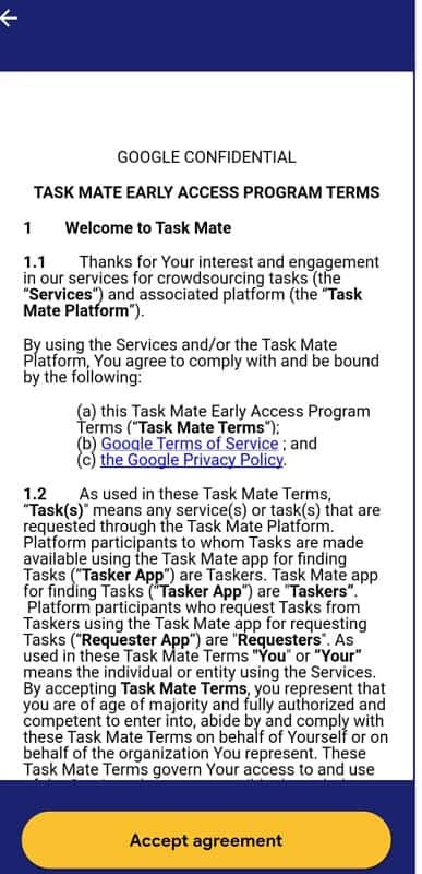google mate terms and condition