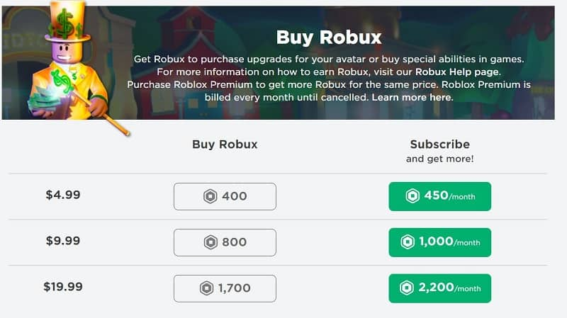 Roblux robux byuing page
